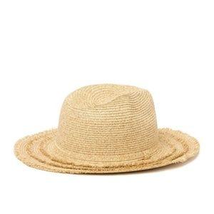 AUGUST HAT Natural Fringe Brim Fedora Hat